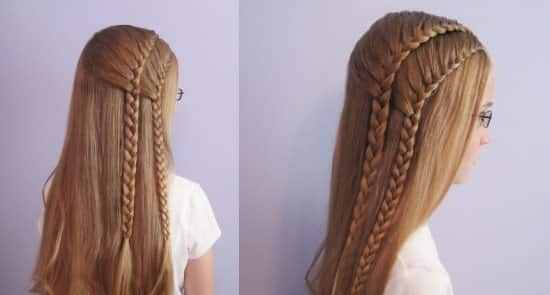 trenzas de lado pelo largo