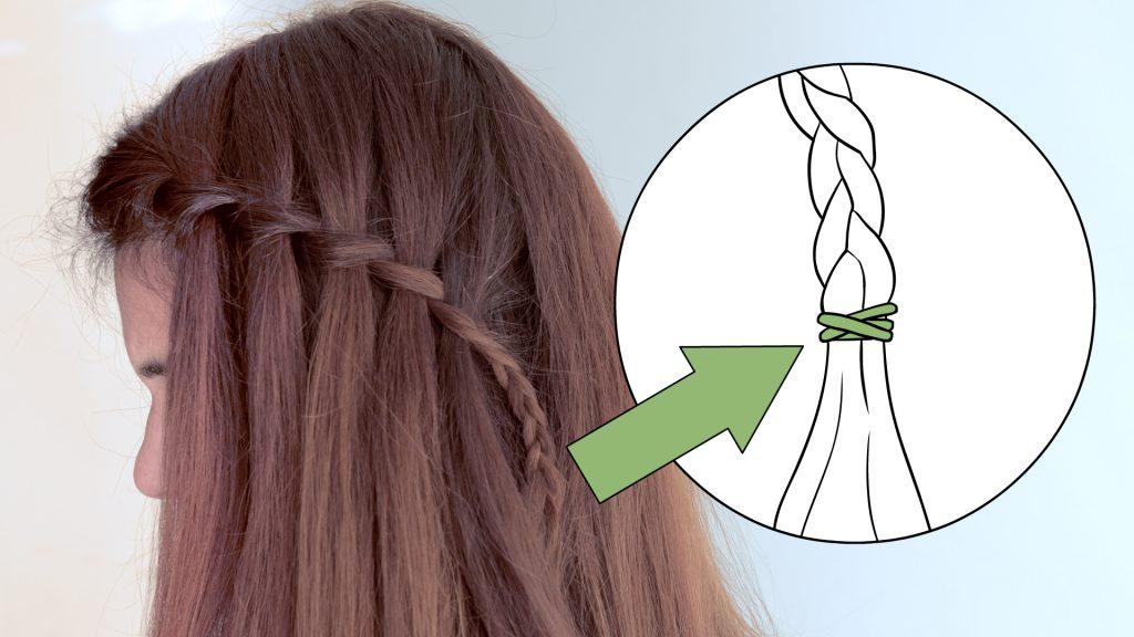 trenza cascada en cabello largo