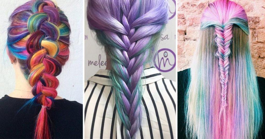 trenzas de colores con hilo